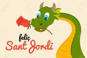 77909425 Sant Jordi Dragón Con Rosa Tradición Catalunya